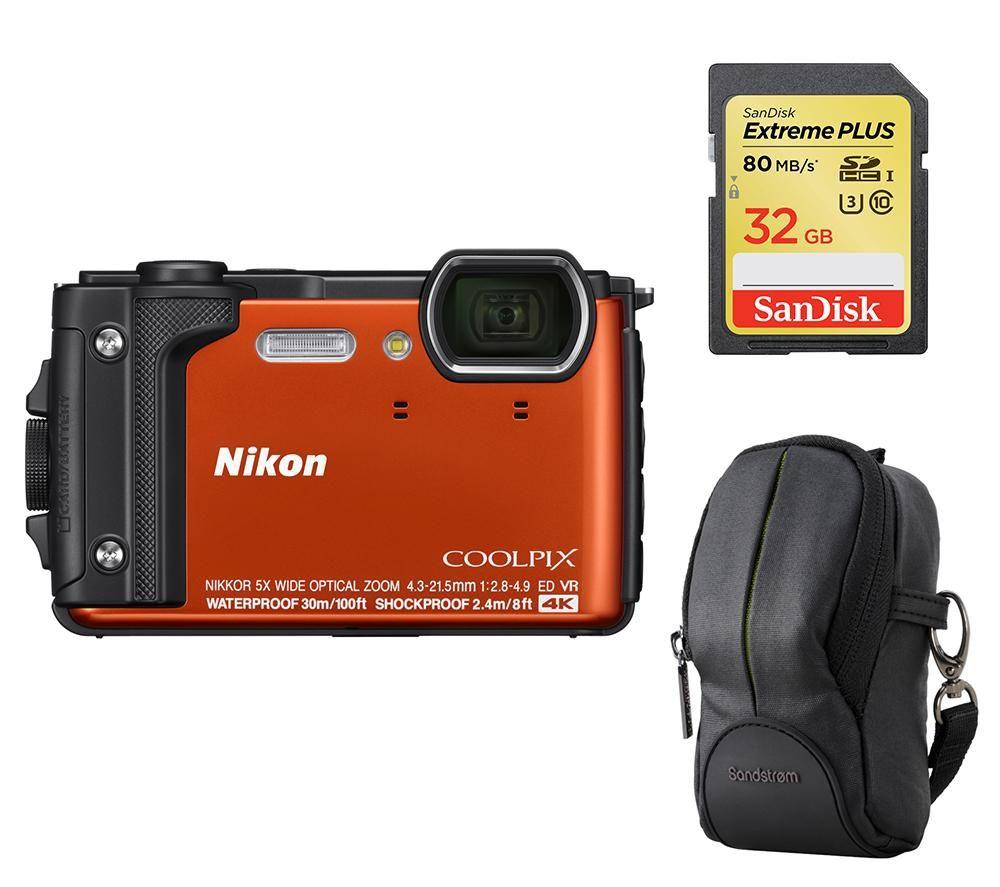 NIKON COOLPIX W300 Tough Compact Camera, SWCOM13 Camera Case & 32 GB Memory Card Bundle - Orange