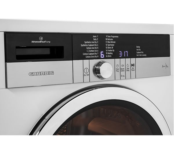 8 Kg Heat Pump Tumble Dryer White, What Setting On Tumble Dryer For Bedding
