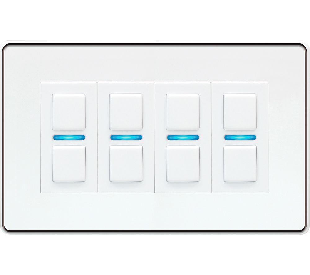 LIGHTWAVE Smart Series 4 Gang Dimmer Switch - White, White