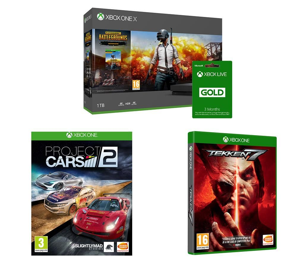 Image of MICROSOFT Xbox One X, PlayerUnknown's Battlegrounds, Tekken 7, Project Cars 2 & Xbox LIVE Gold Bundle, Gold