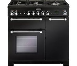Kitchener KCH90DFFBL/C Dual Fuel Range Cooker - Black & Chrome