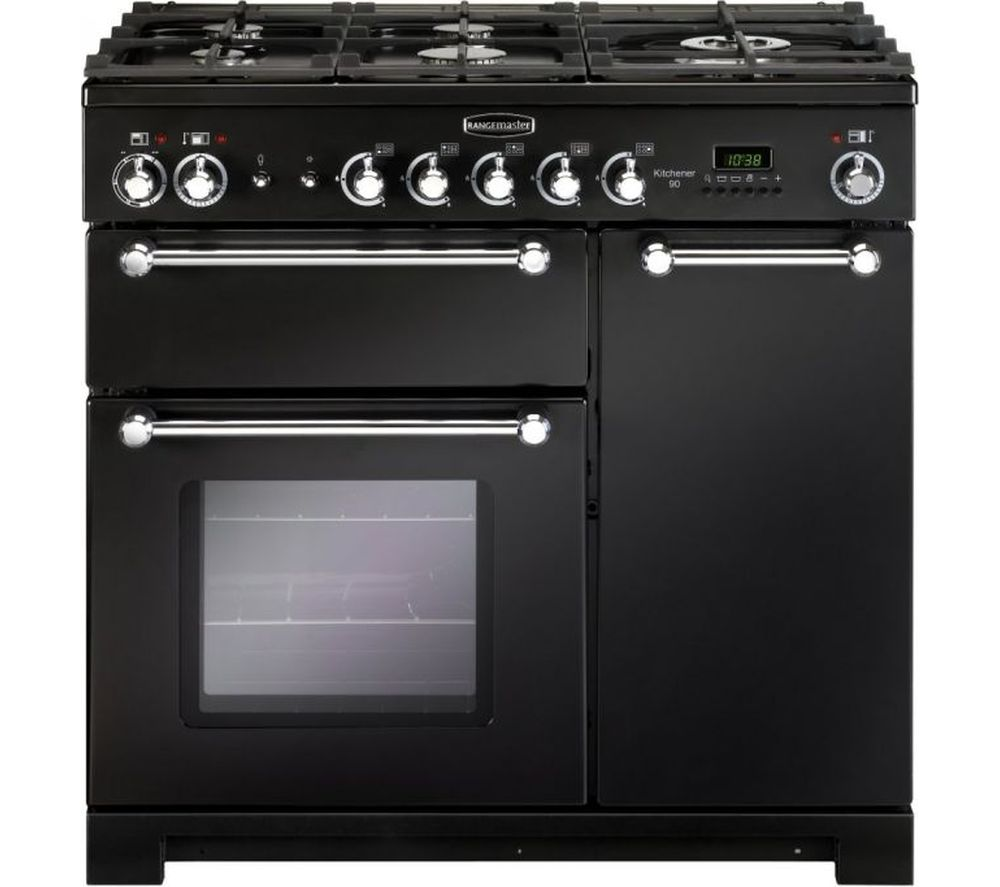 RANGEMASTER Kitchener KCH90DFFBL/C Dual Fuel Range Cooker - Black & Chrome