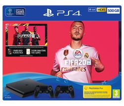 SONY PlayStation 4 with FIFA 20 & Two Wireless Controllers - 500 GB