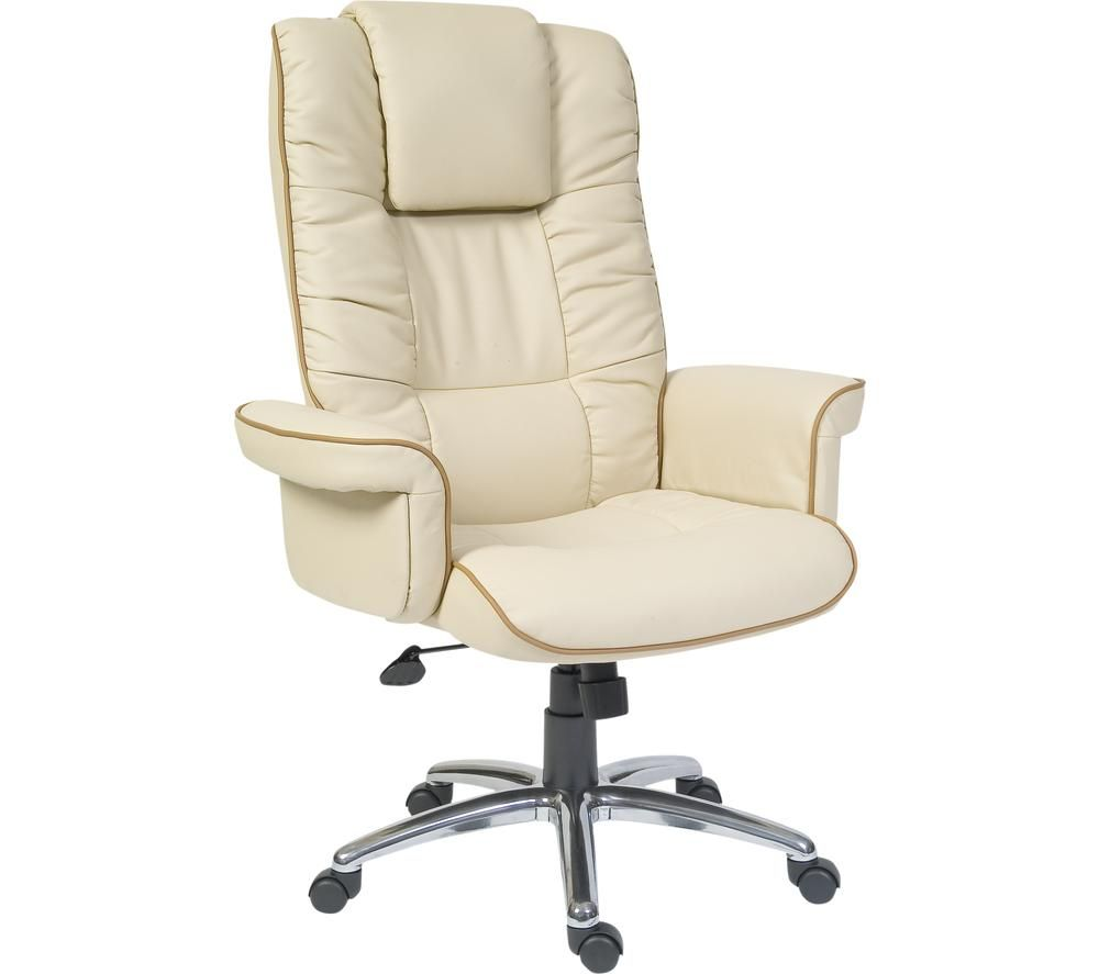 TEKNIK Windsor Bonded Leather Tilting Executive Chair - Cream