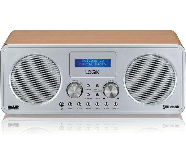 Image of LOGIK L75DAB20 Portable DAB+/FM Bluetooth Radio - Silver & Wood