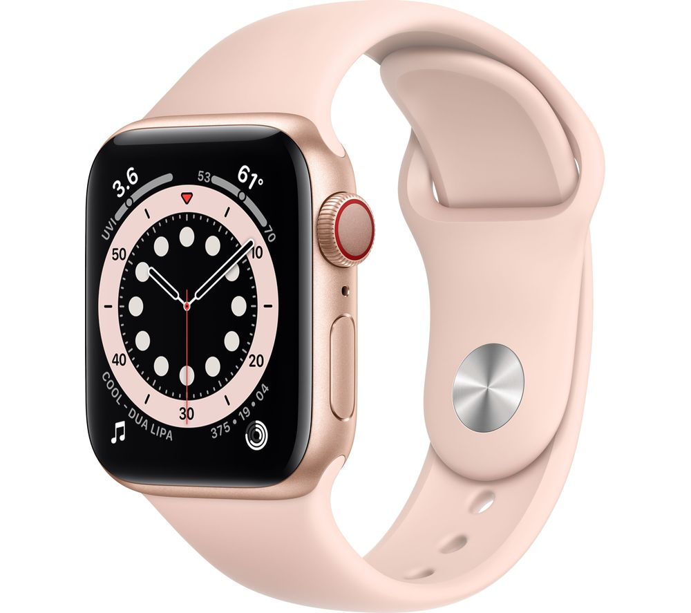 APPLE Watch Series 6 Cellular - Gold Aluminium with Pink Sand Sports Band, 40 mm