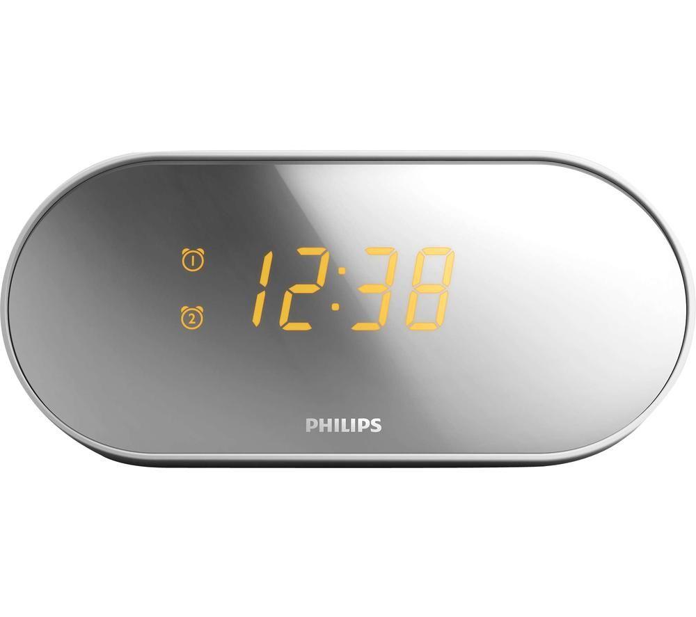 PHILIPS AJ2000 FM Clock Radio - Silver & White, Silver