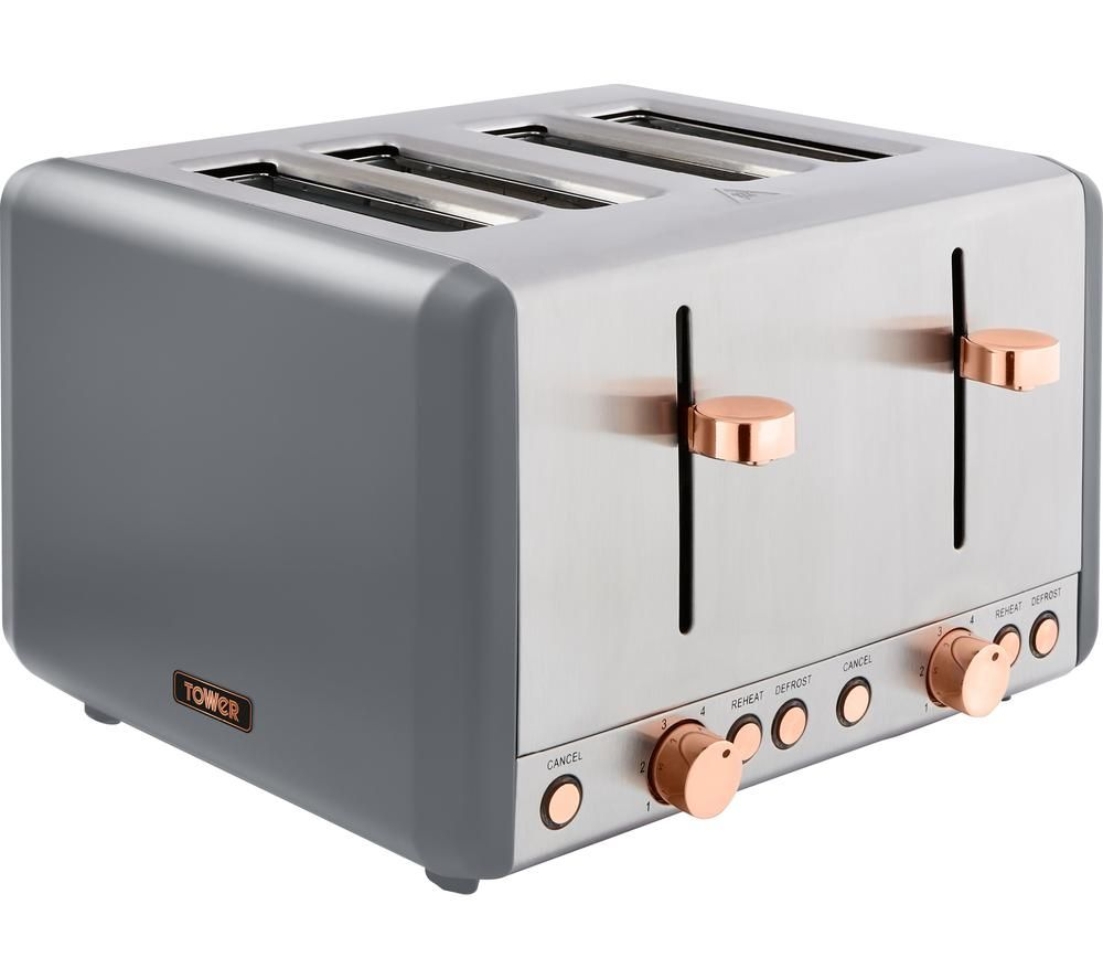Image of TOWER Cavaletto T20051RGG 4-Slice Toaster - Grey & Rose Gold, Grey