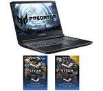 £1099, ACER Predator Helios 300 GTX 1660 Ti Laptop & £30 Steam Card Bundle, Intel® Core™ i7-10750H Processor, RAM: 16GB / Storage: 1 TB HDD & 256GB SSD, Graphics: NVIDIA GeForce GTX 1660 Ti 6GB, 188 FPS when playing Fortnite at 1080p, Full HD screen / 144 Hz,