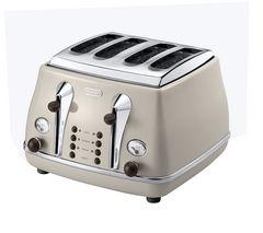 DELONGHI Icona Vintage CTOV4003BG 4-Slice Toaster - Cream