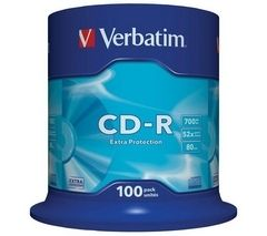 VERBATIM 52x Speed CD-R Blank CDs - Pack of 100