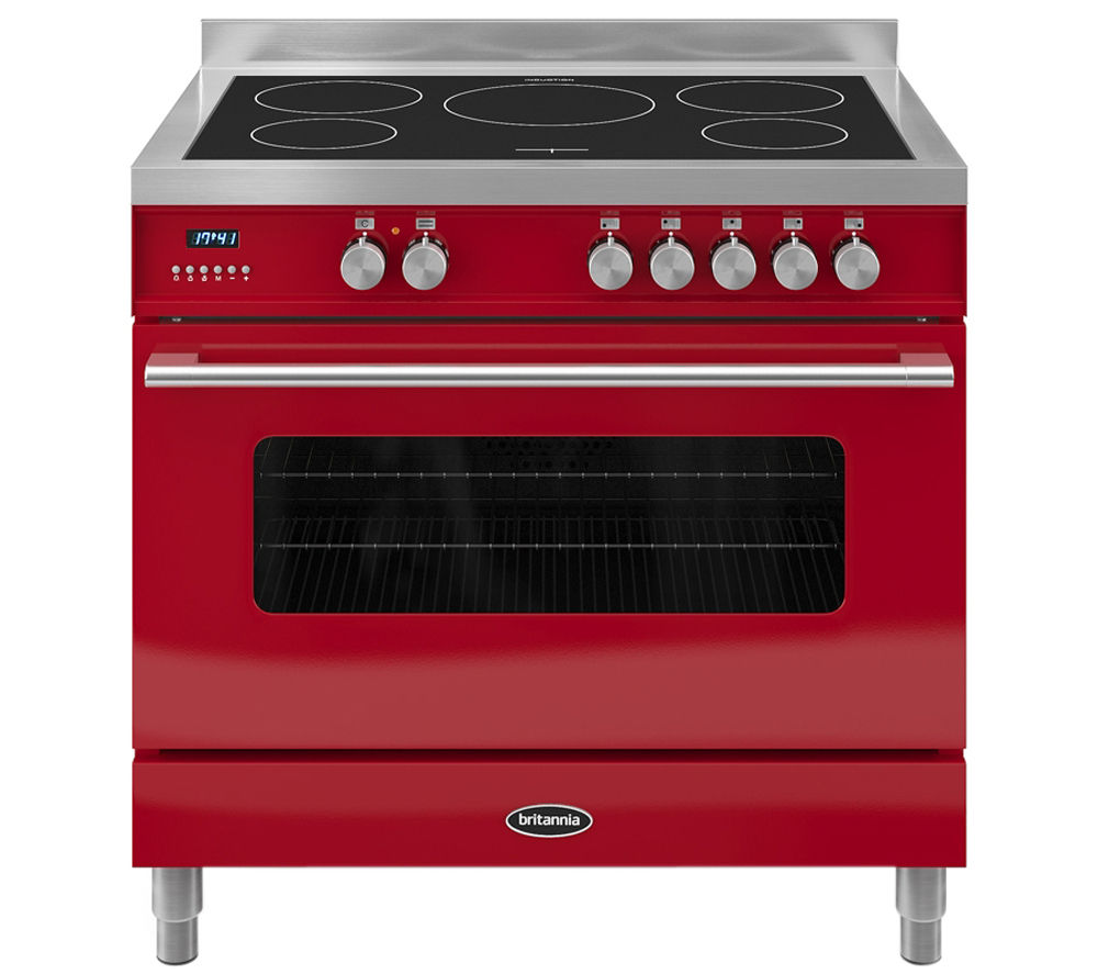 BRITANNIA Delphi 90 RC9SIDERED Electric Induction Range Cooker - Gloss Red & Stainless Steel