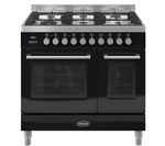 BRITANNIA Q Line 90 Twin Dual Fuel Range Cooker - Gloss Black & Stainless Steel