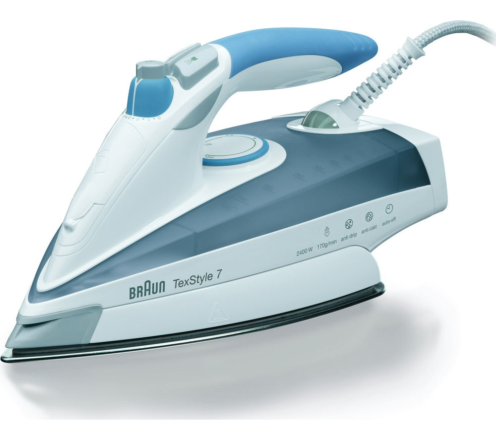 BRAUN TexStyle 7 TS765A Steam Iron - Grey & Blue + 100741 Ironing Board Cover - Pink Santini