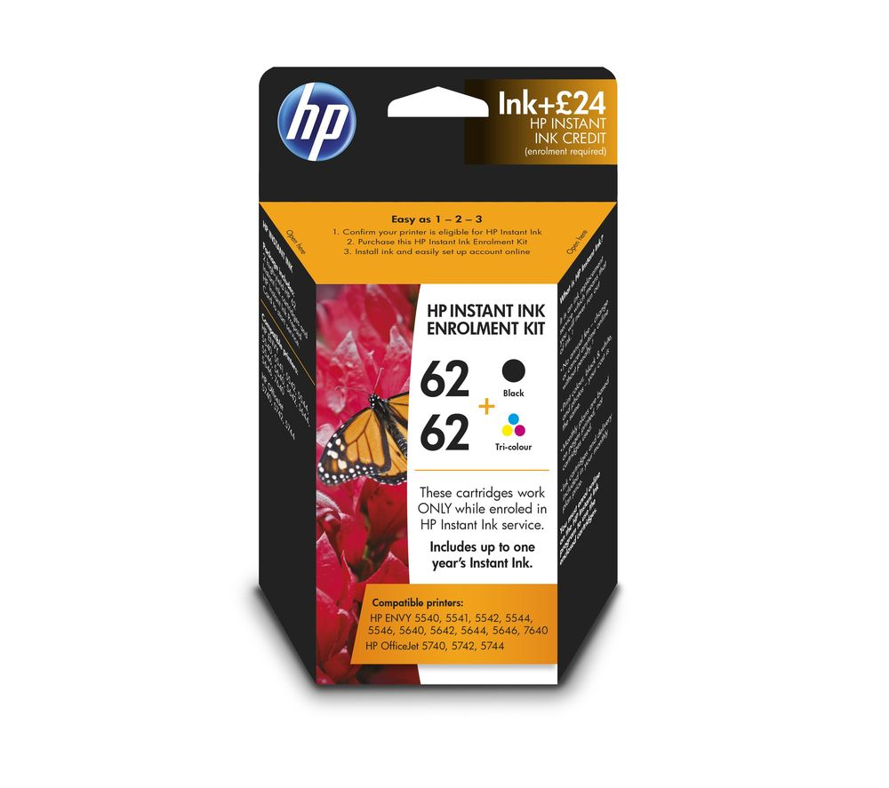 62 Instant Black & Tri Colour Ink with HP Instant Ink Enrolment- £24 credit
