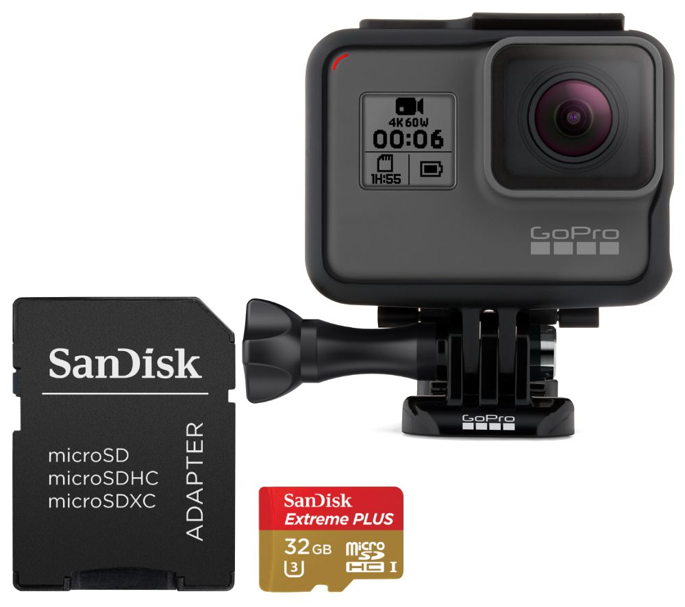 GOPRO HERO6 4K Action Camera & Extreme Plus microSD Memory Card Bundle - 32 GB