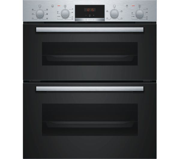 Image of BOSCH Serie 2 NBS113BR0B Electric Built-under Double Oven - Stainless Steel