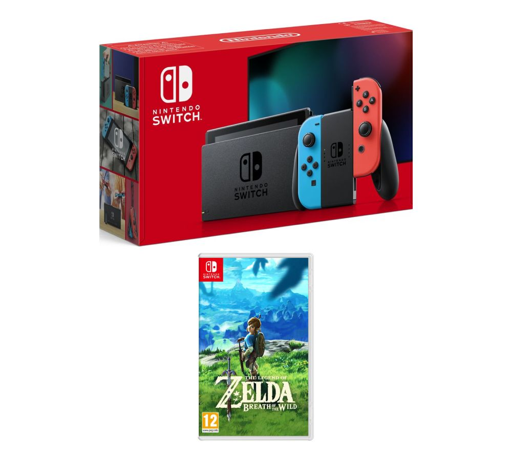 NINTENDO Switch Neon Red & The Legend of Zelda: Breath of the Wild Bundle