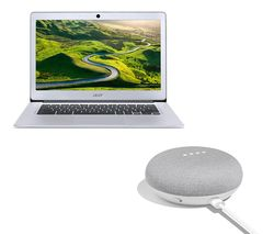 GOOGLE 14 CB3-431 Chromebook & Home Mini Bundle - Silver