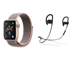 APPLE Watch Series 4 & Powerbeats3 Wireless Bluetooth Headphones Bundle - Gold & Pink Sand Sports Loop, 40 mm