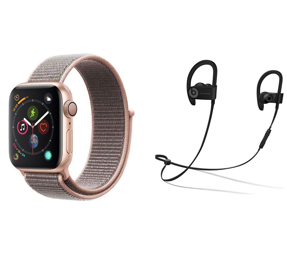 APPLE Watch Series 4 & Powerbeats3 Wireless Bluetooth Headphones Bundle - Gold & Pink Sand Sports Loop, 40 mm, Gold cheapest retail price