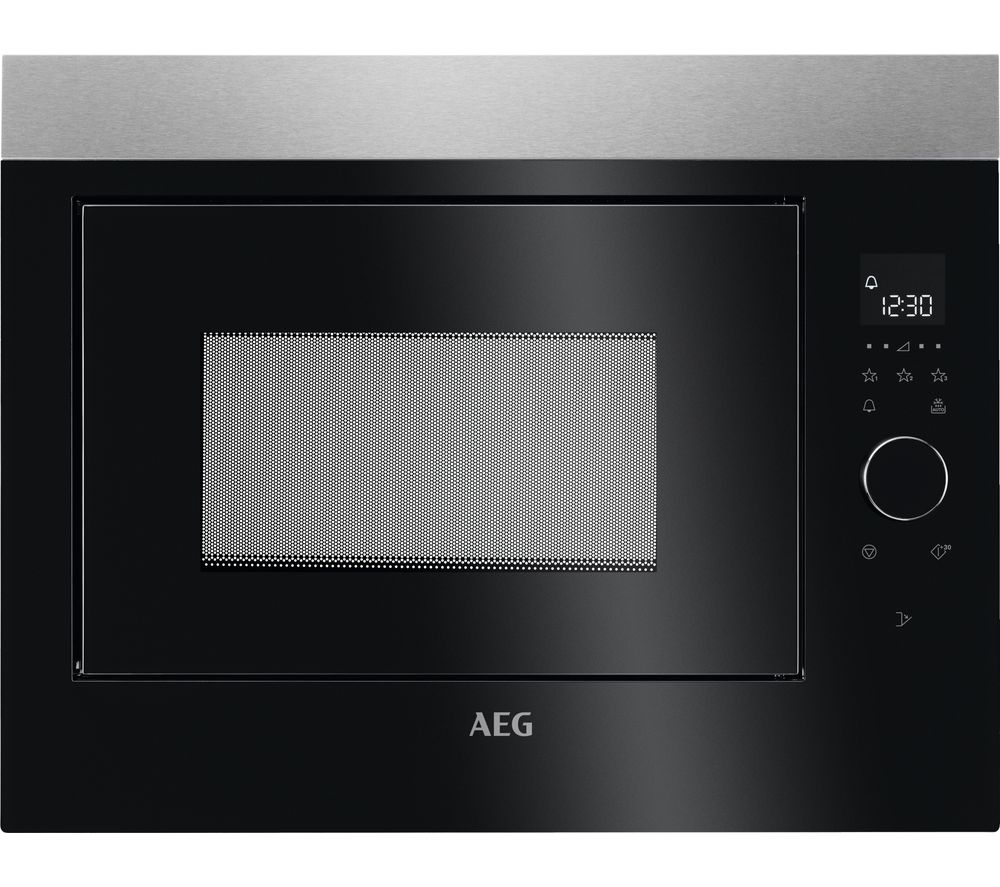 AEG MBE2658SEM Built-in Solo Microwave - Black & Stainless Steel, Stainless Steel