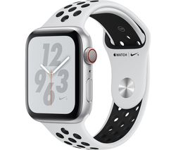 APPLE Watch Series 4 Cellular - Silver with Pure Platinum and Black Nike Sports Band, 44 mm