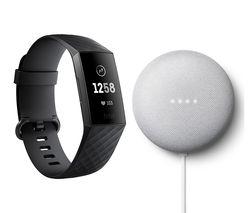 Charge 3 Fitness Tracker Black & Chalk Google Nest Mini (2nd Gen) Bundle