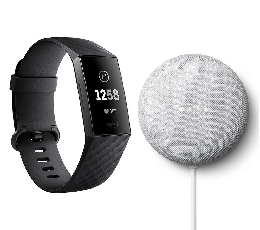 FITBIT Charge 3 Fitness Tracker Black & Chalk Google Nest Mini (2nd Gen) Bundle, Black
