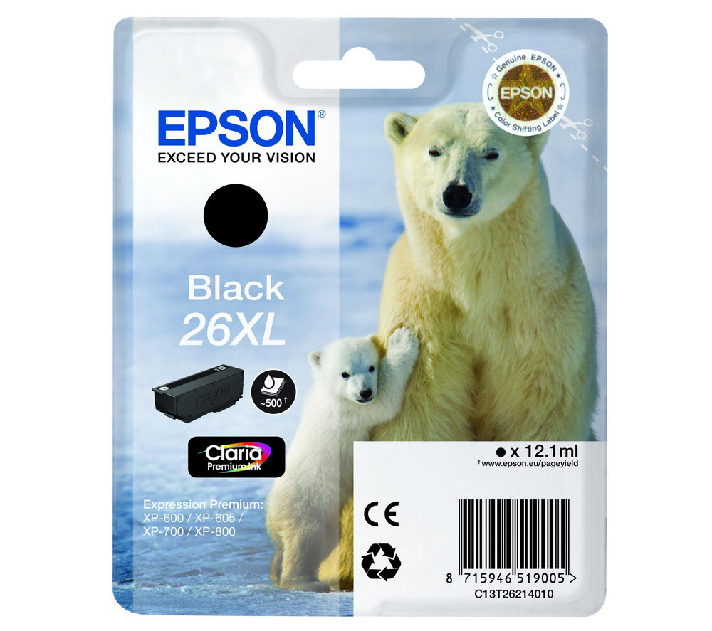 EPSON Polar Bear T2621 XL Black Ink Cartridge