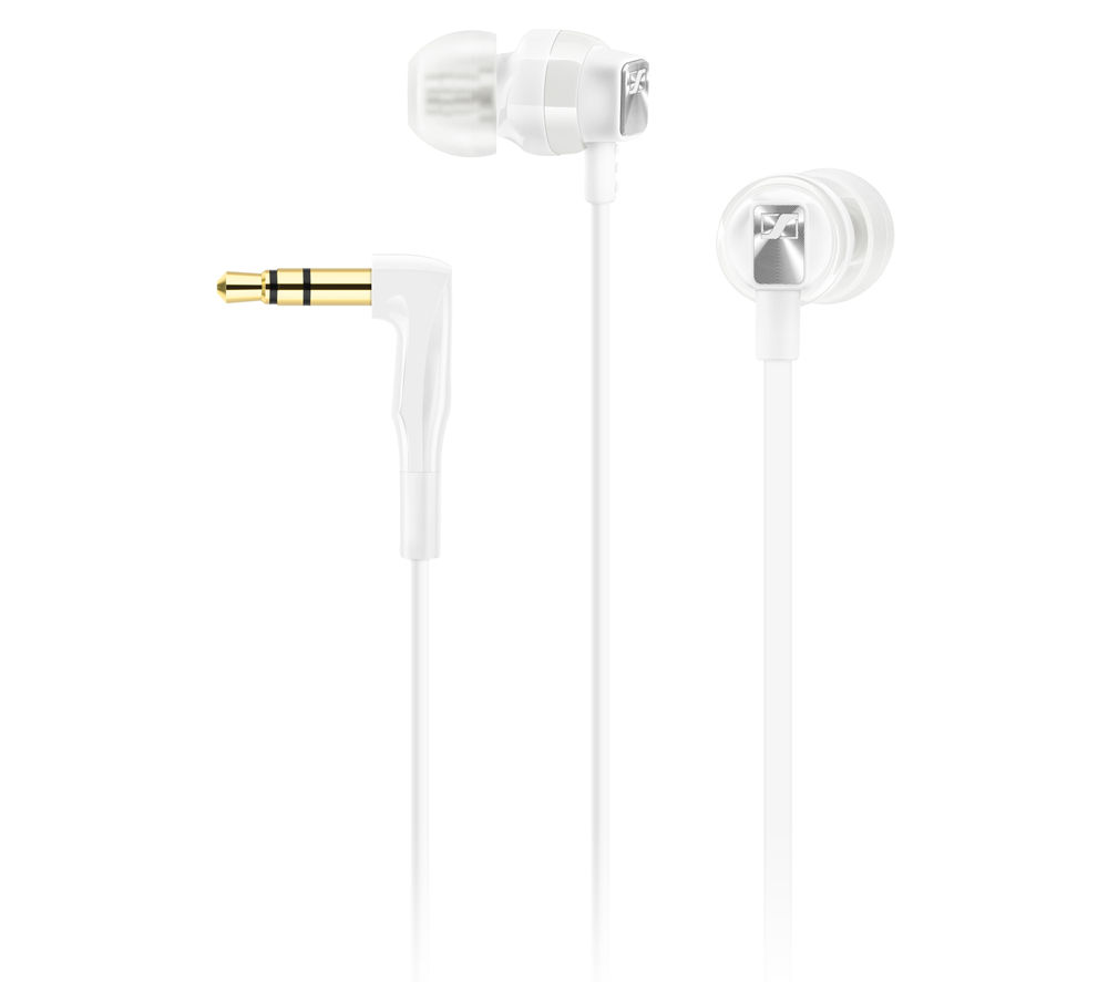 SENNHEISER CX 3.00 Headphones - White + iPhone 7 Lightning to 3.5 mm Headphone Jack Adapter