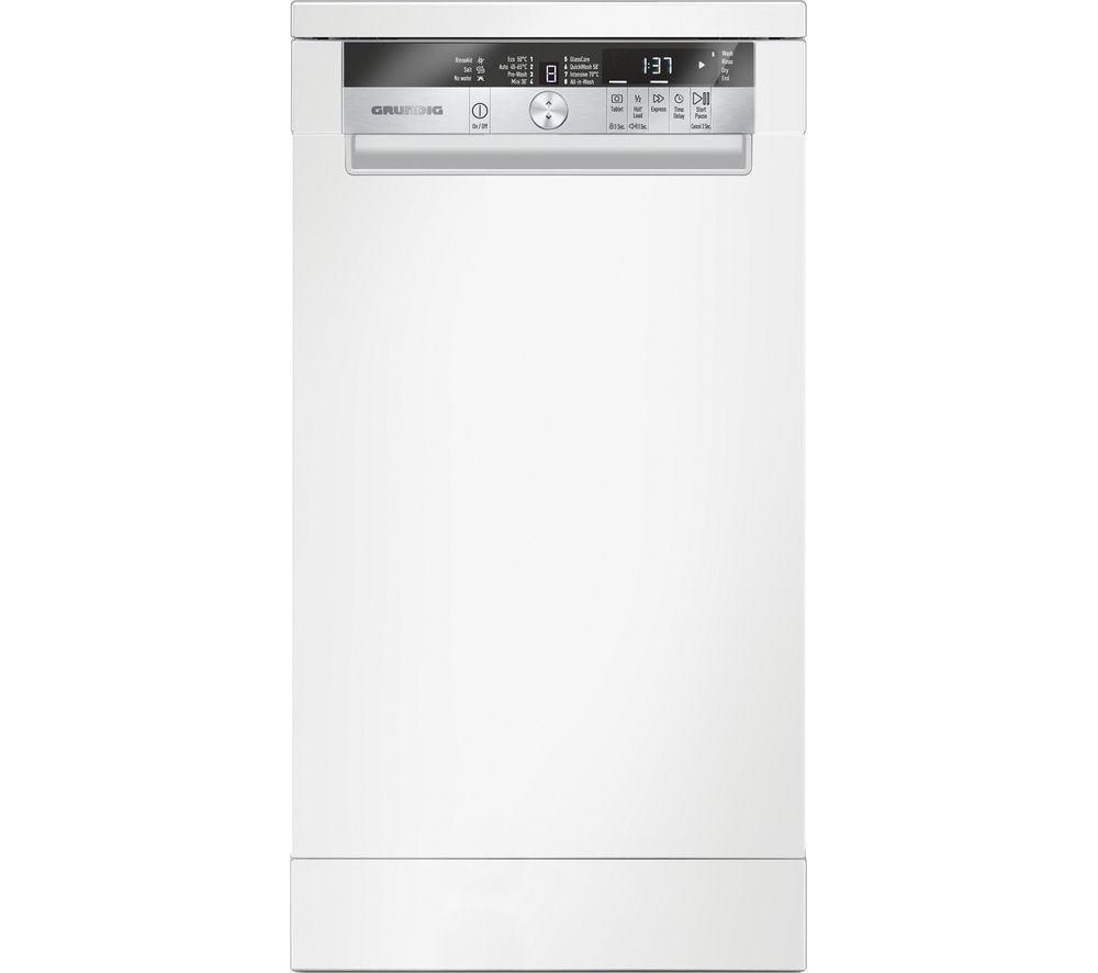 GRUNDIG GSF41820W Slimline Freestanding Dishwasher - White + GTN38250HGCB Heat Pump Tumble Dryer - Black