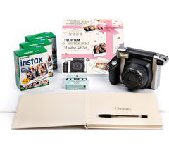 INSTAX WIDE 300 Instant Camera Wedding Bundle - Black & Silver