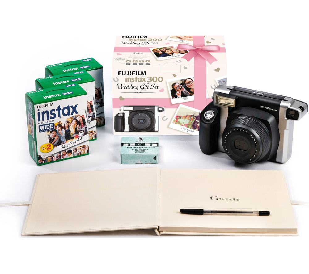 FUJIFILM Instax WIDE 300 Instant Camera Wedding Bundle – Black & Silver, Black