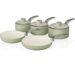 SWAN Retro 5-piece Non-stick Pan Set - Green