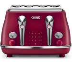 DELONGHI Elements CTOE4003.R 4-Slice Toaster - Red