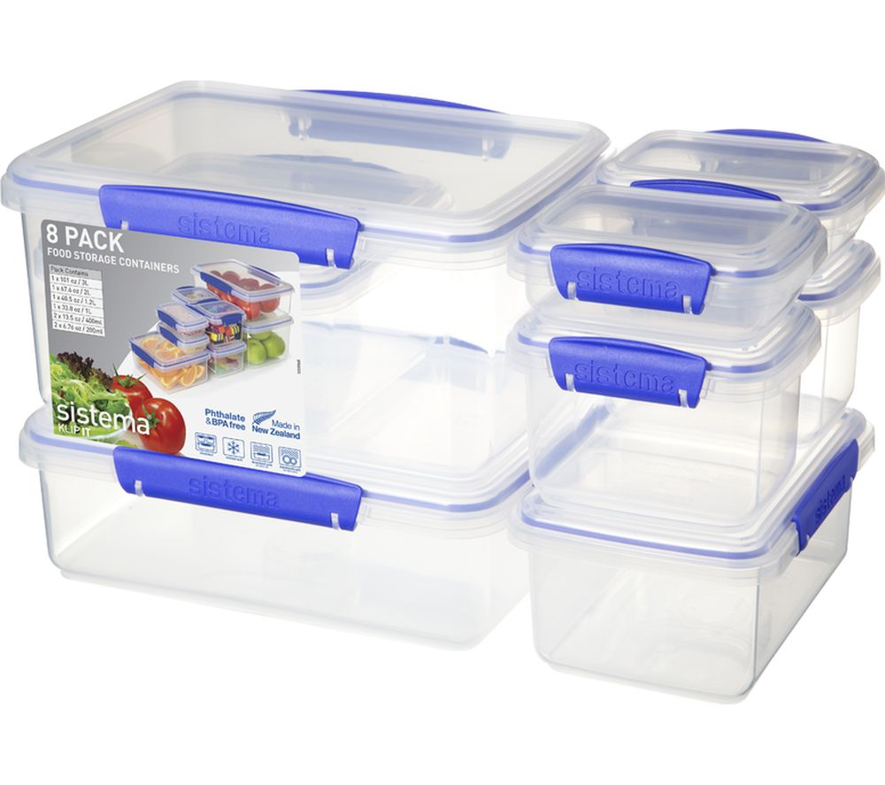SISTEMA Klip It Rectangular Food Storage - Clear, Pack of 8