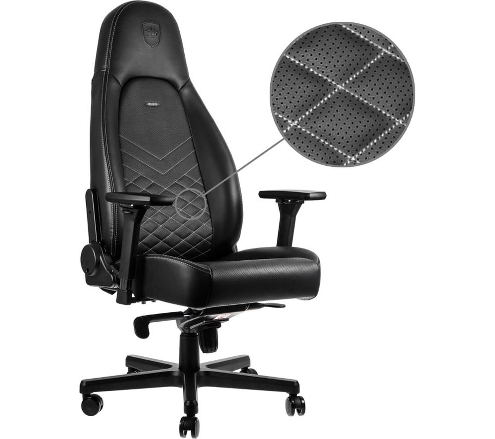 NOBLECHAIRS ICON Gaming Chair - Black & Platinum White