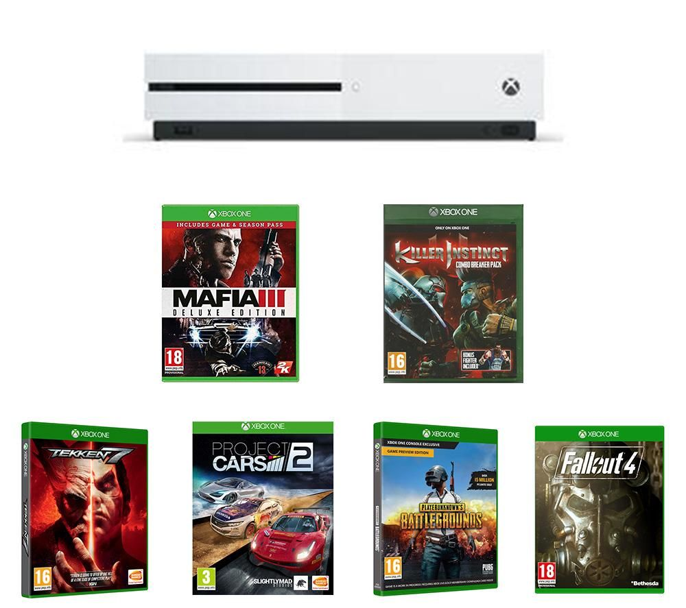 MICROSOFT Xbox One S, Tekken 7, Project Cars 2, Killer Instinct Combo Breaker Pack, Mafia III Deluxe Edition, Fallout 4 & PlayerUnknown's Battlegrounds Bundle - 1 TB