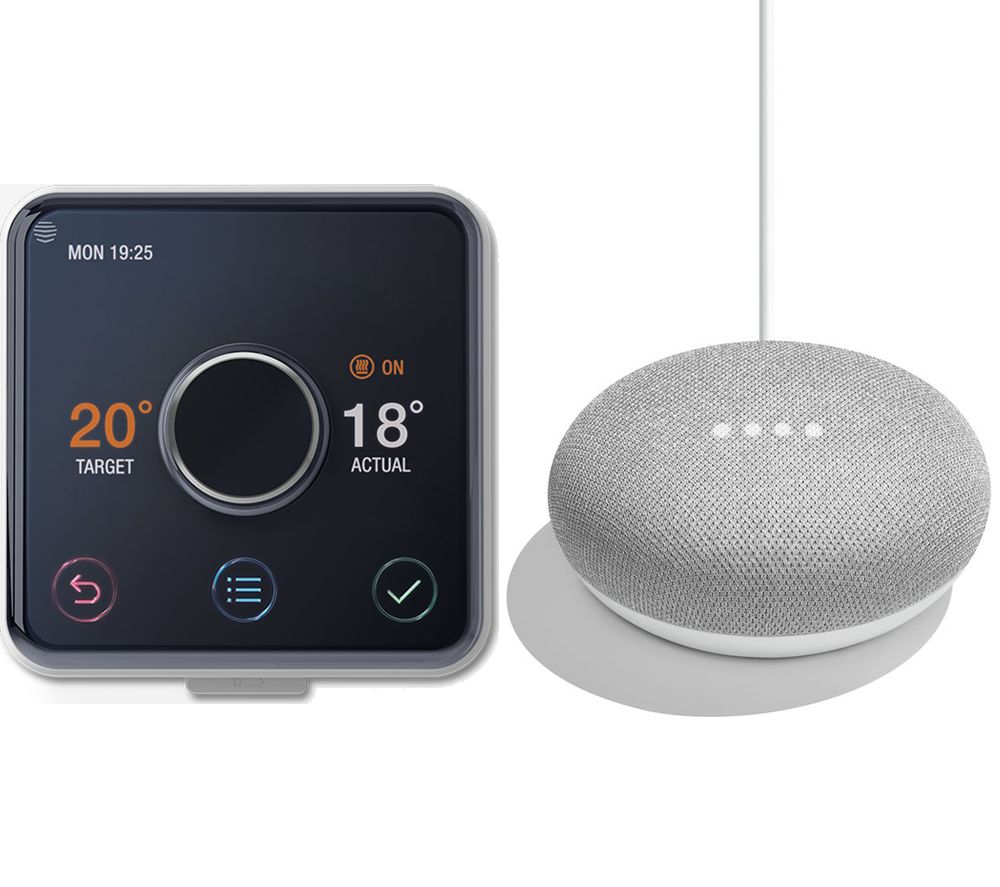 HIVE Active Heating & Hot Water Kit with Google Home Mini Bundle - Chalk