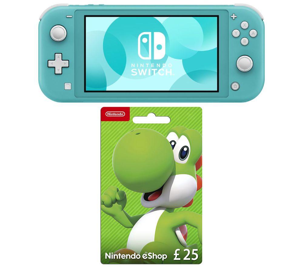 NINTENDO Switch Lite & eShop £25 Gift Card Bundle - Turquoise