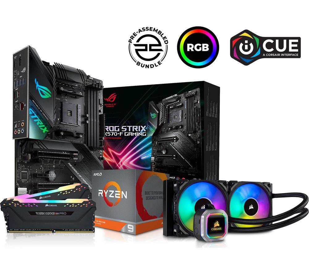 Image of PC SPECIALIST AMD Ryzen 9 X Processor, ROG STRIX Motherboard, 16 GB RAM & Corsair RGB Cooler Components Bundle