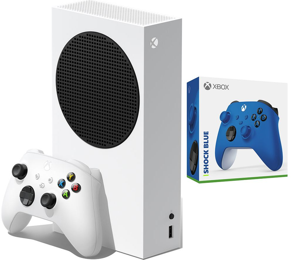 MICROSOFT Xbox Series S & Xbox Wireless Controller (Shock Blue) Bundle - 512 GB SSD