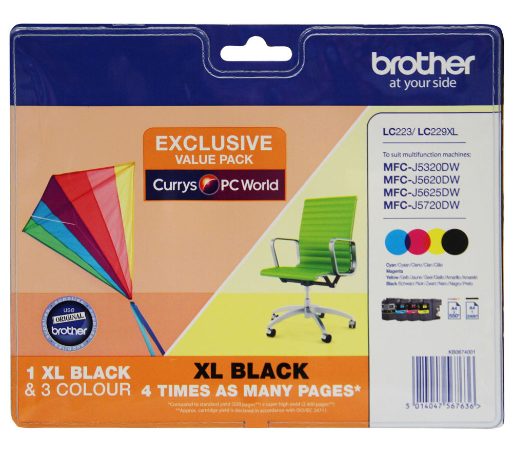 BROTHER LC229XLDSVALBPRF Tri-colour & Black Ink Cartridges - Multipack