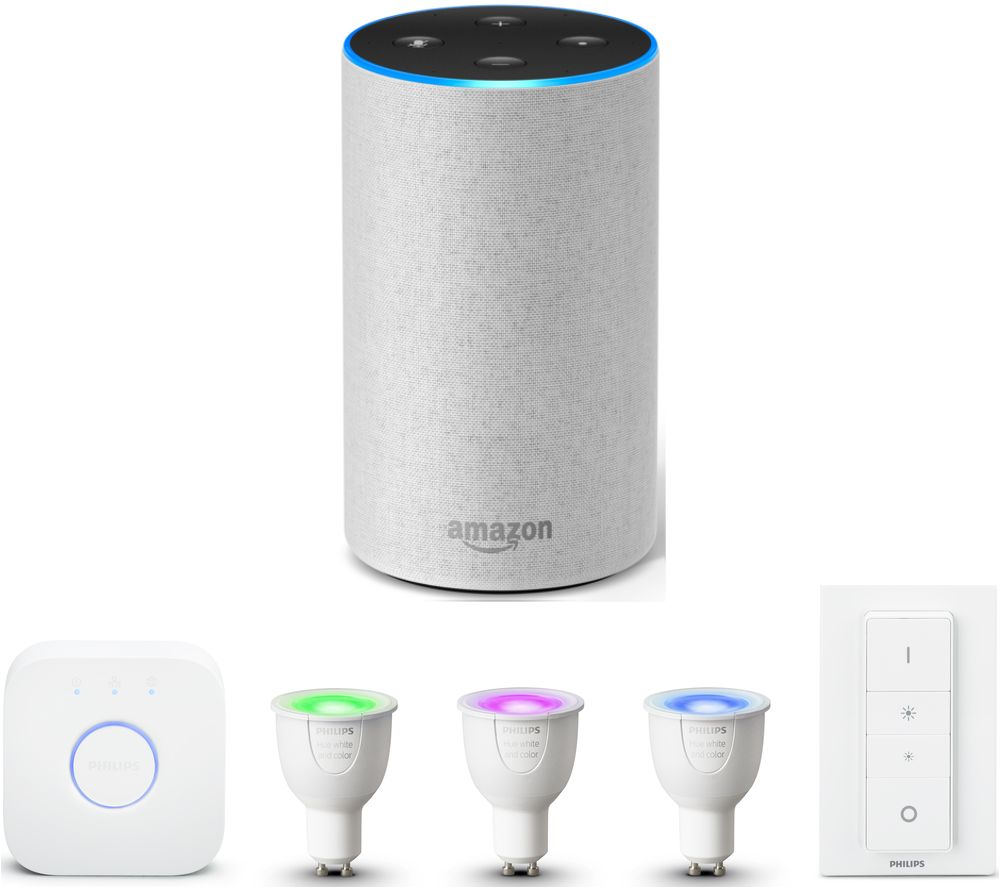 PHILIPS Hue White & Colour Ambiance GU10 Starter Kit & Amazon Echo Bundle