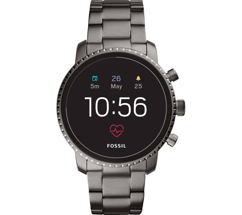 FOSSIL Explorist HR FTW4012 Smartwatch - Smoke, Stainless Steel Strap