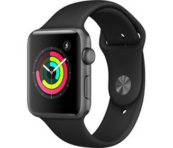 Watch Series 3 - Space Grey & Black Sports Band, 42 mm