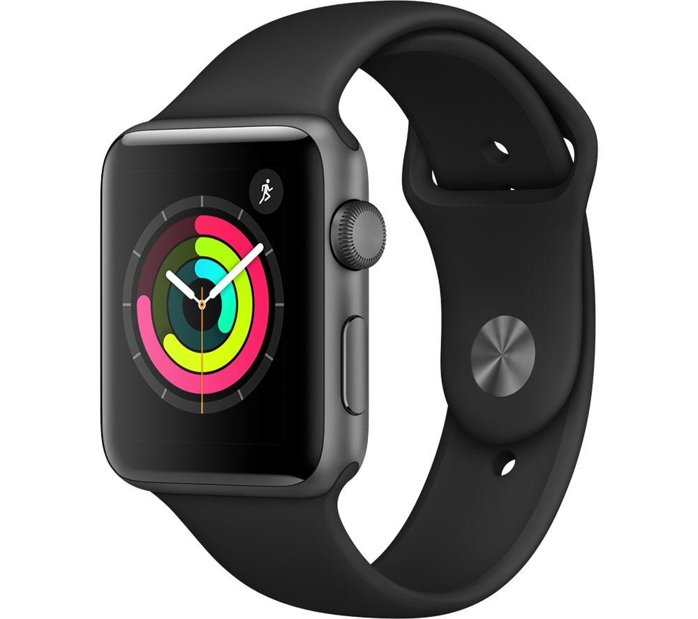 Compare prices with Phone Retailers Comaprison to buy a APPLE Watch Series 3 - Space Grey & Black Sports Band, 42 mm, Grey