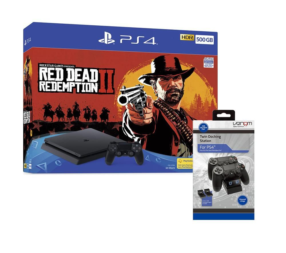 PlayStation 4, Red Dead Redemption 2 & Twin Docking Station Bundle - 500 GB, Red