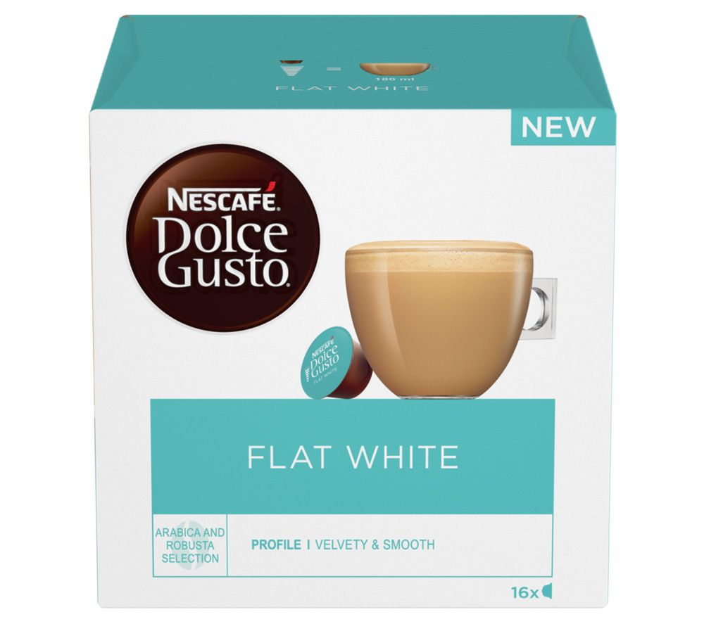 NESCAFE Dolce Gusto Flat White Coffee Pods - Pack of 16, White